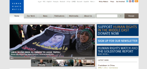 Picture of the home page of Human Rights Watch