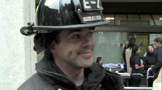 An unidentified firefighter describes why he chose to spend Sept. 11 climbing the Transamerica Pyramid in San Francisco.