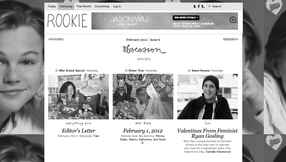 Screenshot of Rookie website by Jessie King Fredel
