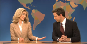 SNL actors Nasim Pedrad and Seth Meyers joke about women's once-icy, but now thawing, sentiments for former Secretary of State Hillary Clinton.  Photo from NBC.com/Fair Use exemption