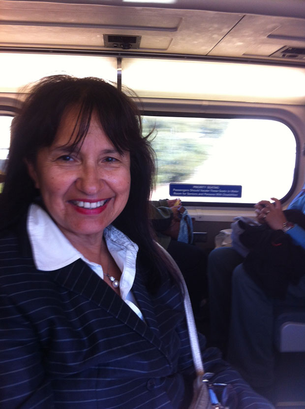 Commuter Shirley Trevino takes Caltrain home from a long day of work.