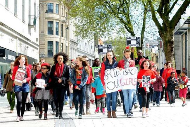Campaigners+march+in+Cardiff%2C+the+capital+of+Wales%2C+as+a+part+of+%22School+Girl+March%22+to+demand+action+over+Nigerian+schoolgirl+abductions