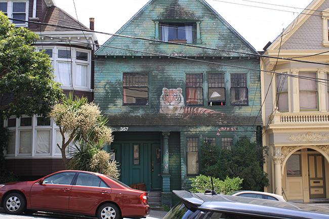 Painted as a wild jungle scene complete with a tiger, this house is located on 357 Fredrick St.