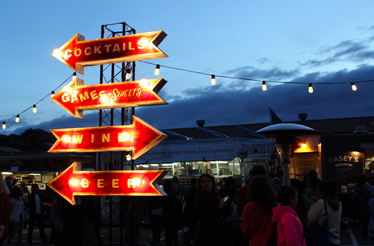 Music plays and wafts of freshly cooked food sets the scene at Off the Grid Fort Mason Center on Friday, March 29.