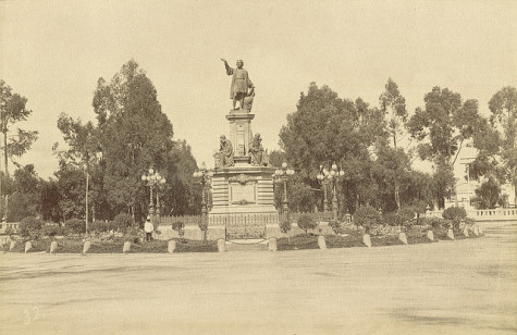 An 1876 monument dedicated  to Christopher Columbus in Mexico City. Published by Claudio Pellandini