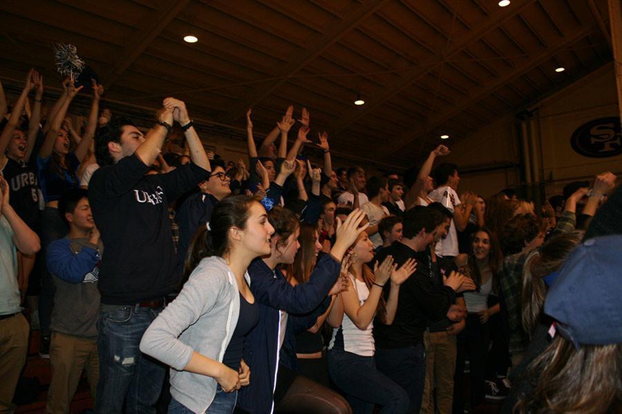 The Urban student section cheered on their boys basketball team vs. Lick-Wilmerding on Jan. 23.