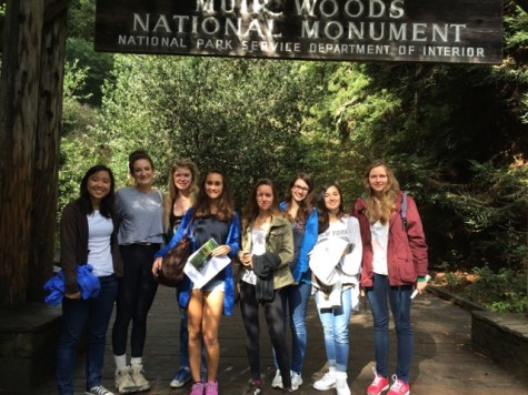 Six of the 20 French exchange students spend the day at Muir Woods with two Urban hosts. Photo by Renata Miller (used with permission)