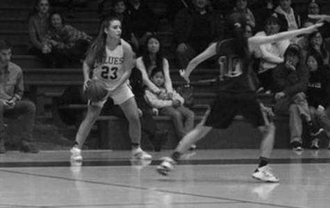 Natalie Sears ('15) inbounds the ball vs. league opponent Lick-Wilmerding