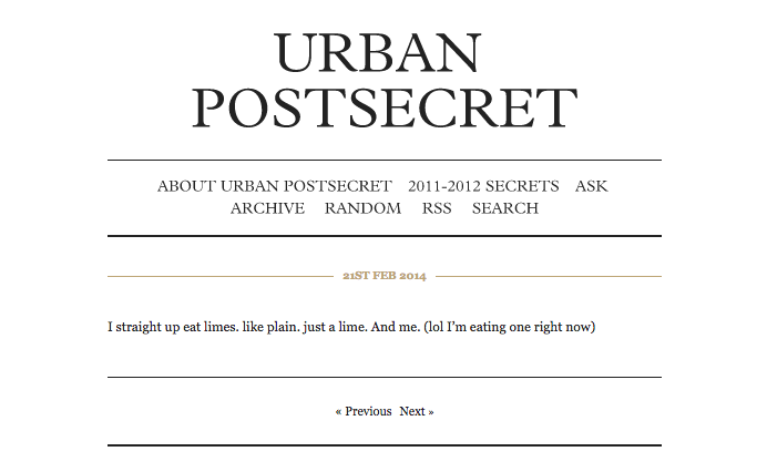An example of a secret submitted by an anonymous Urban student