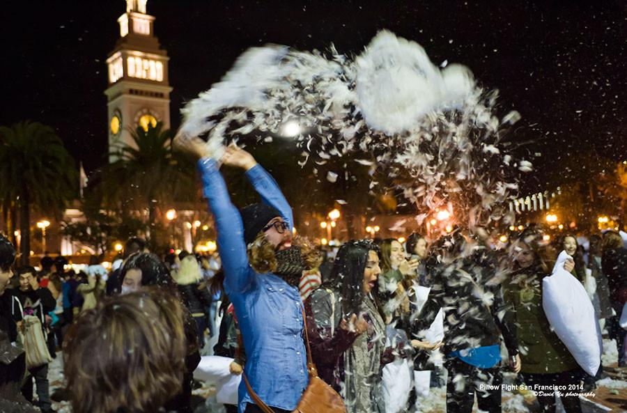 Valentine's Day pillow fight in Justin Herman Plaza.