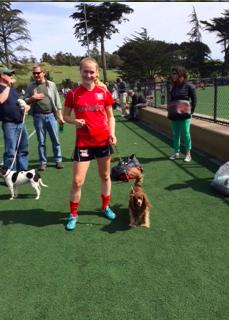 Serena (17') walking a dog.