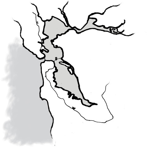 Illustration of the San Francisco Bay Area by Catherine Silvestri