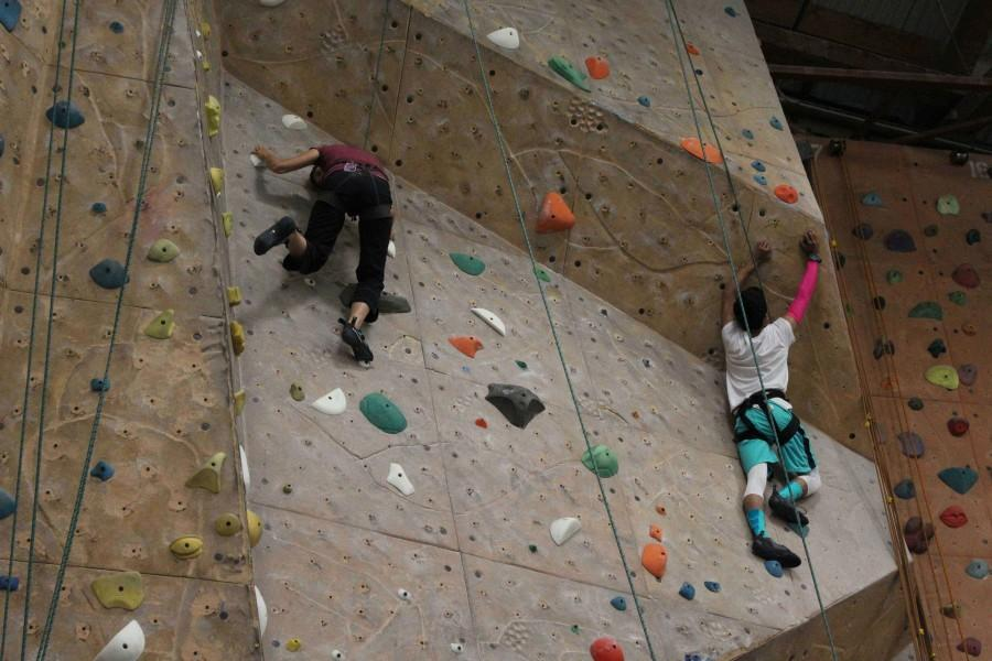 Tonali Vargas ('18) scales a wall at Mission Cliffs