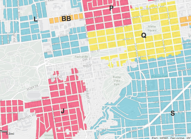 The Haight is surrounded by different residential parking permit areas.