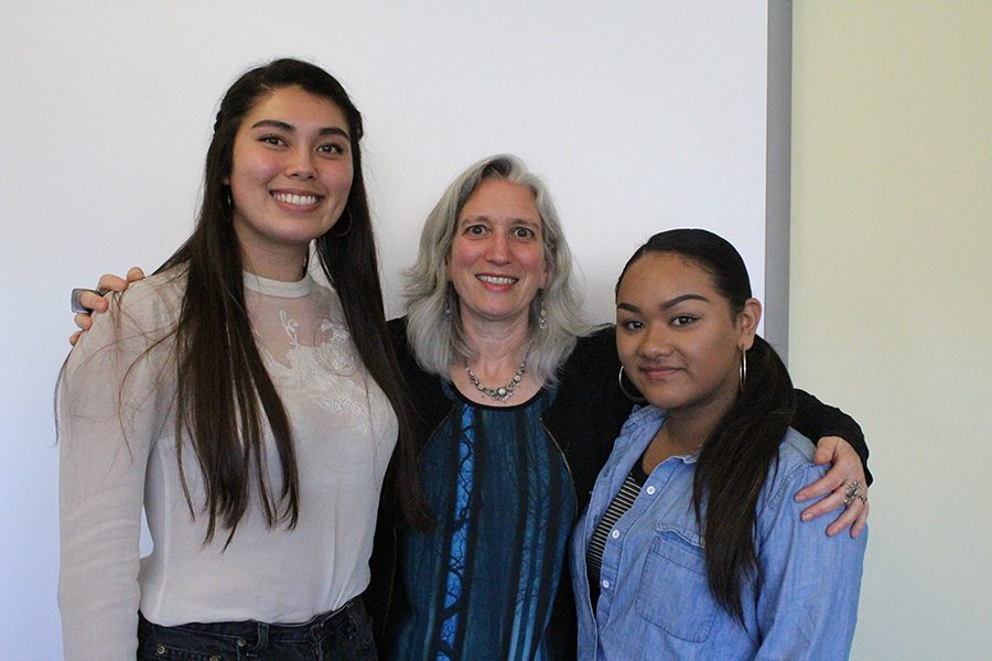 Urban mother Minouche Kandel poses with SWEAR leaders, Abby Lim-Kimberg ('16) and Kaylah Breiz ('17)