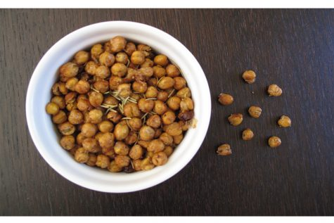 Crispy, roasted chickpeas seasoned with various spices.