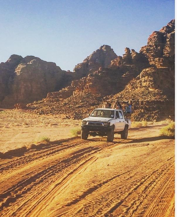 Open-backed Jeeps in Wadi Rum