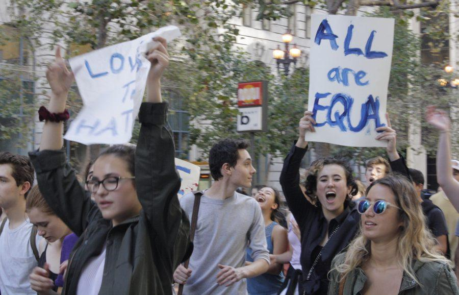 Students+from+the+Urban+School+of+San+Francisco+protest+the+election+of+Donald+Trump+as+the+45th+President+of+the+United+States+in+San+Francisco%27s+financial+district