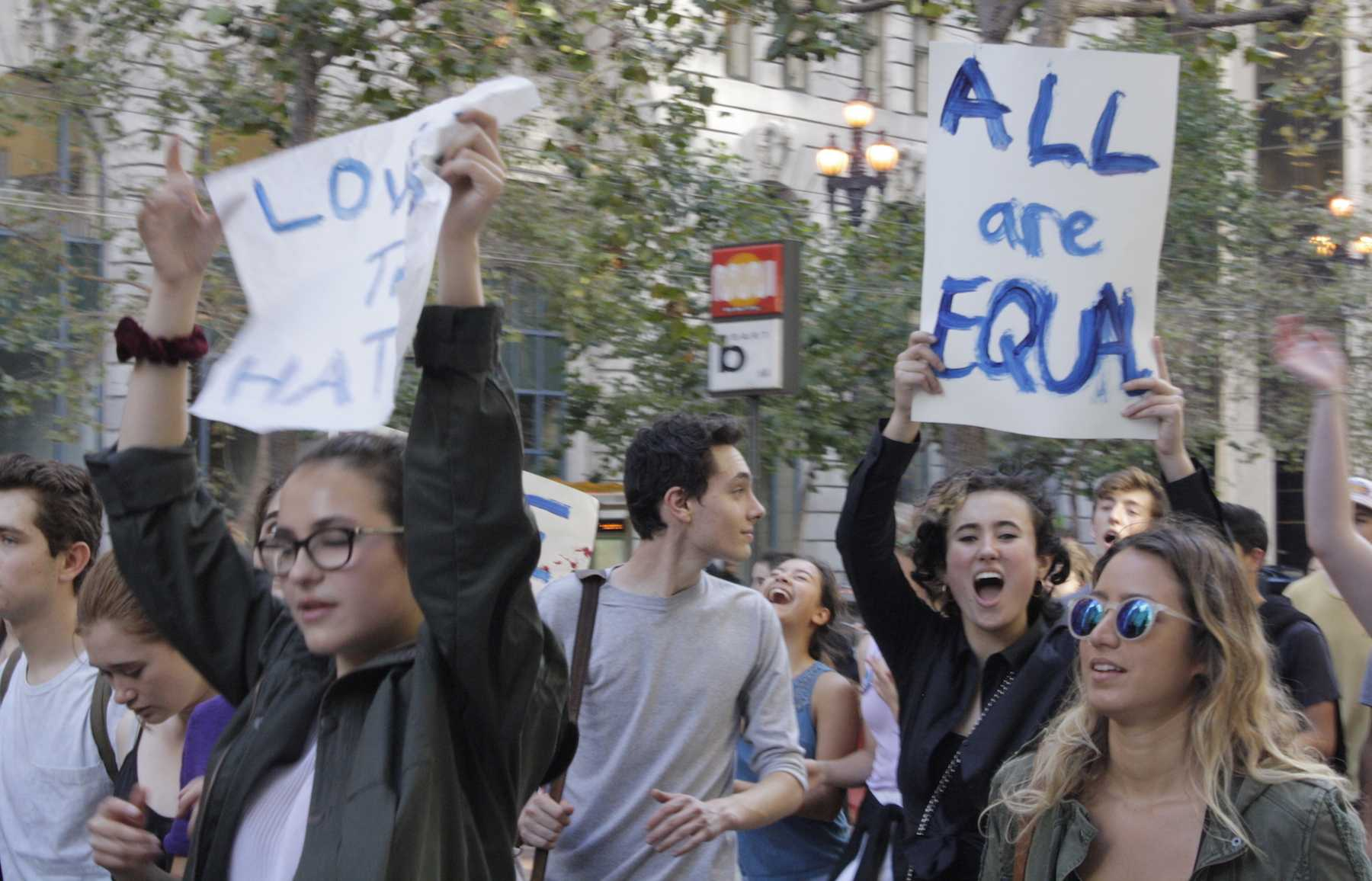 Students from the Urban School of San Francisco protest the election of Donald Trump as the 45th President of the United States in San Francisco's financial district
