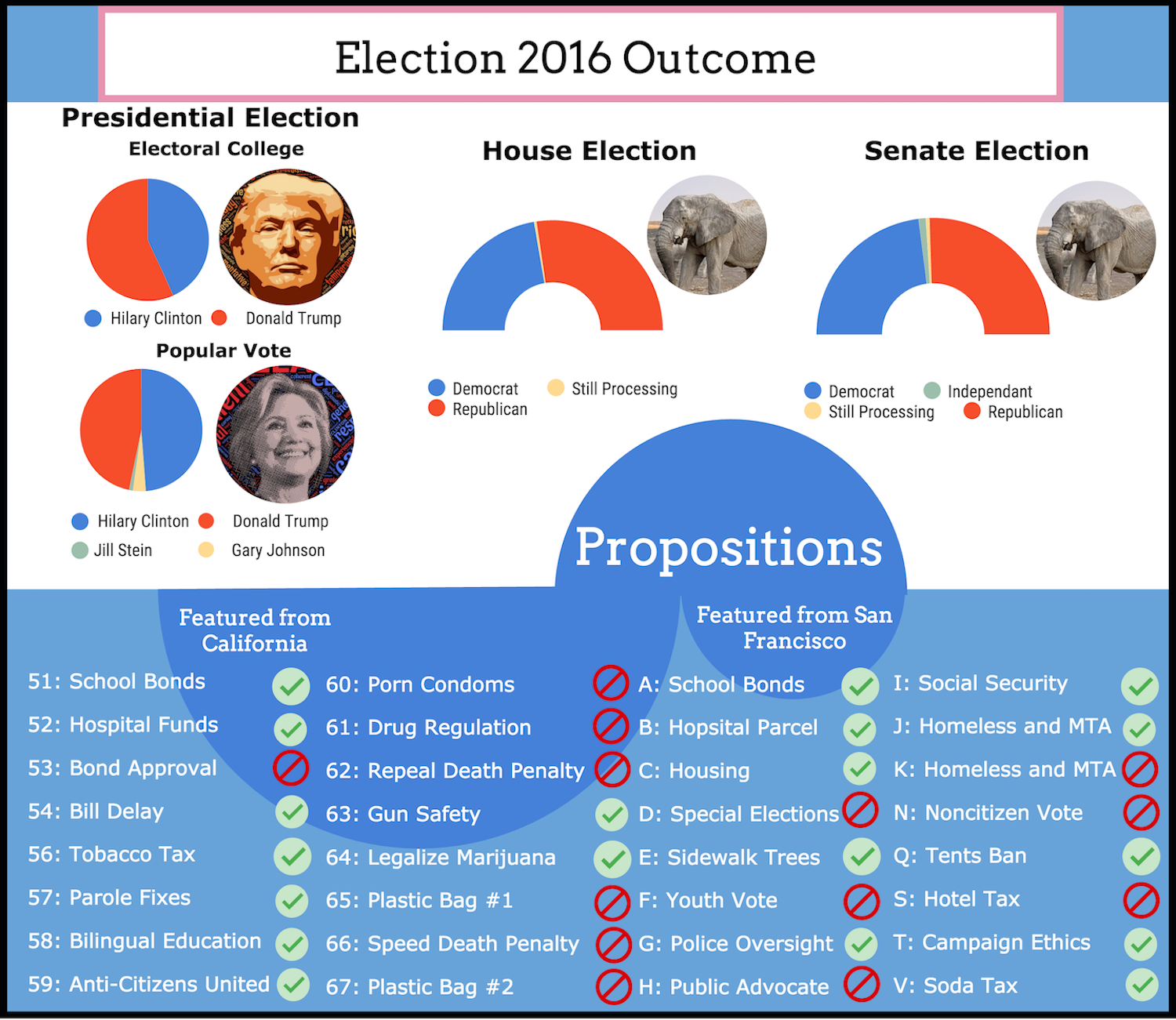 Infographic of 2016 Election Results, made by Kian Nassre.