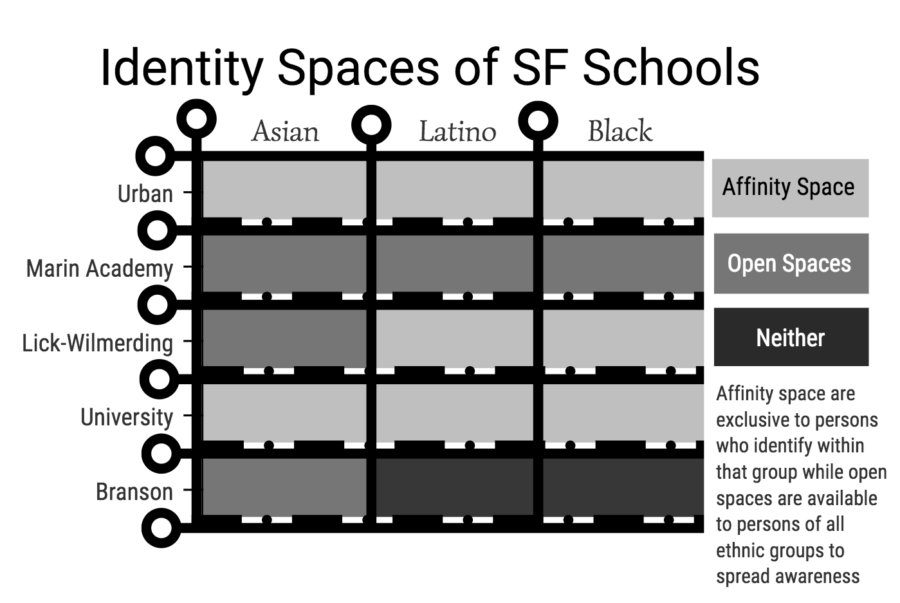 Infographic of the different affinity spaces in SF Schools, made by Kian Nassre.