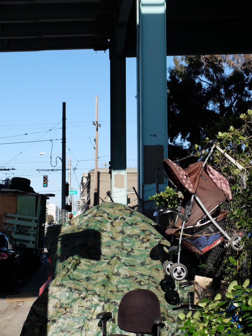 Photo of a homeless encampment by Olivia Meehan, Head Photographer.