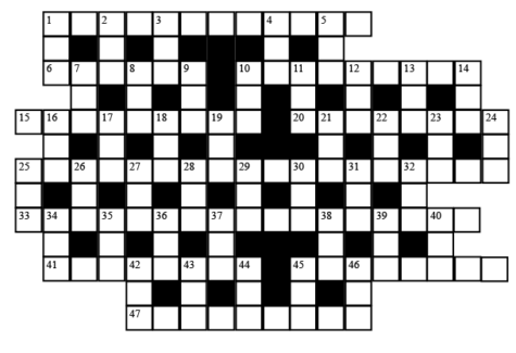 An Urban Legend Crossword based on Urban Elective classes. Across words are classes at Urban. Down words are connecting the crosses together and are not related to Urban.