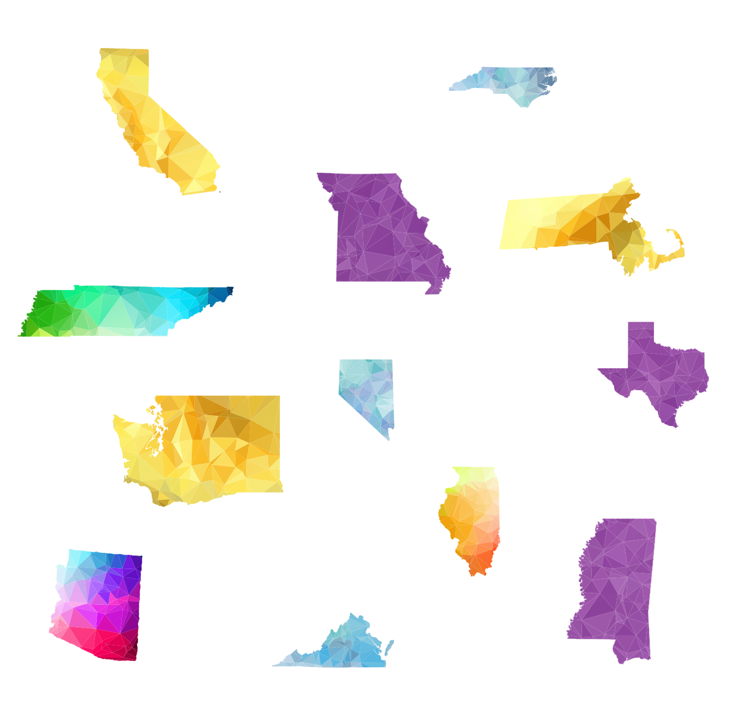 Polygonal art of various states