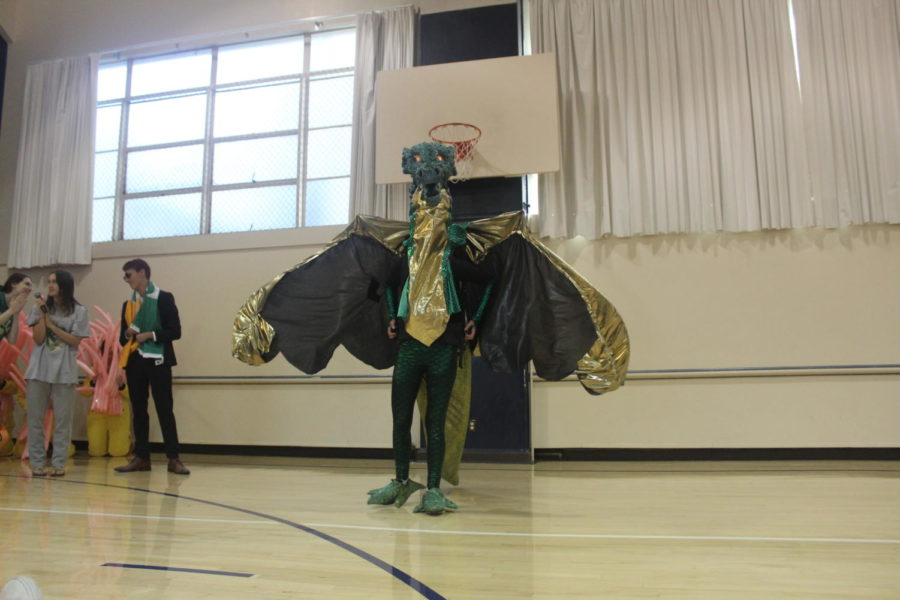 Belle Davis '19 dressed as a dragon on Oct. 31, 2018.