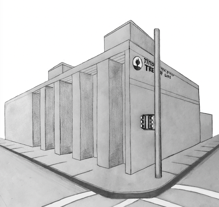 Illustration of Tree of Life synagogue, by Loki Olin, Features Editor