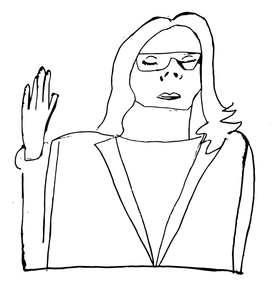 Illustration of Christine Blasey-Ford testifying before Congress, by Zella Lezak, Staff Writer