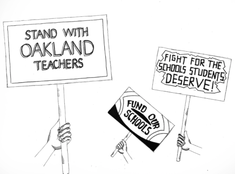 Illustration of signs by protestors in the Oakland teacher strikes, by Loki Olin, Features Editor