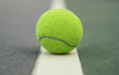 Royalty free photo of a tennis ball on a tennis court, courtesy of Pexals.