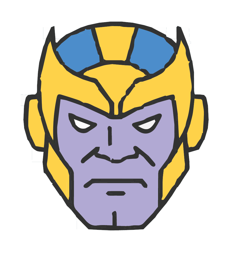 Illustration of Thanos, the Mad Titan from the Marvel Cinematic Universe, by Kian Nassre, Web Editor.