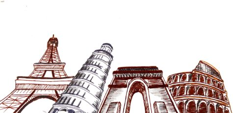 Various European landmarks in France and Italy. Illustration Credit: Loki Olin