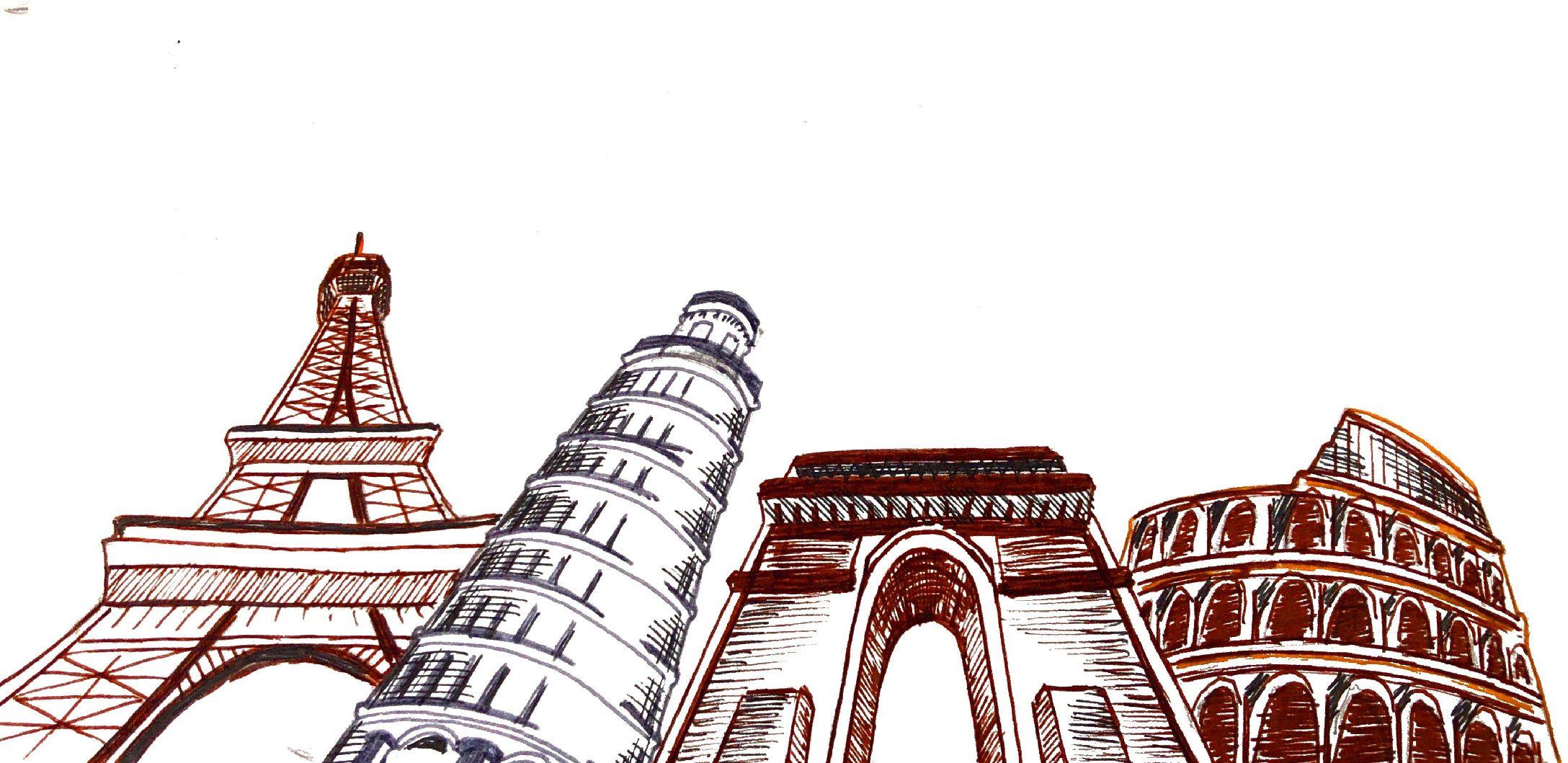 Various European landmarks in France and Italy. Illustration Credit: Loki Olin