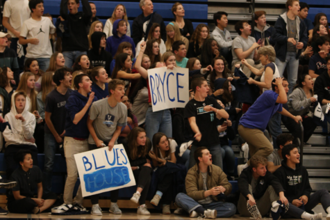 Urban students cheer on their fellow Blues at a basketball game against Lick-Wilmerding. Photo credit: Kathryn Doorey