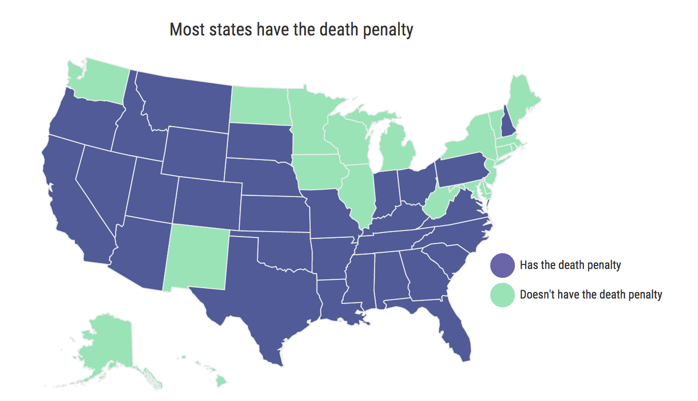 States with the death penalty. Source: deathpenaltyinfo.org. Infographic credit: Kian Nassre.