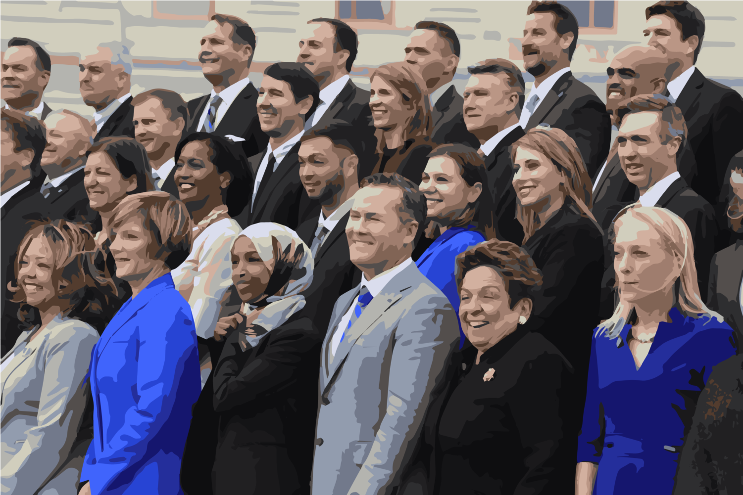 Digitally modified photograph of members of the freshman class of Congress pose for a photo opportunity on Capitol Hill in Washington, Wednesday, Nov. 14, 2018.