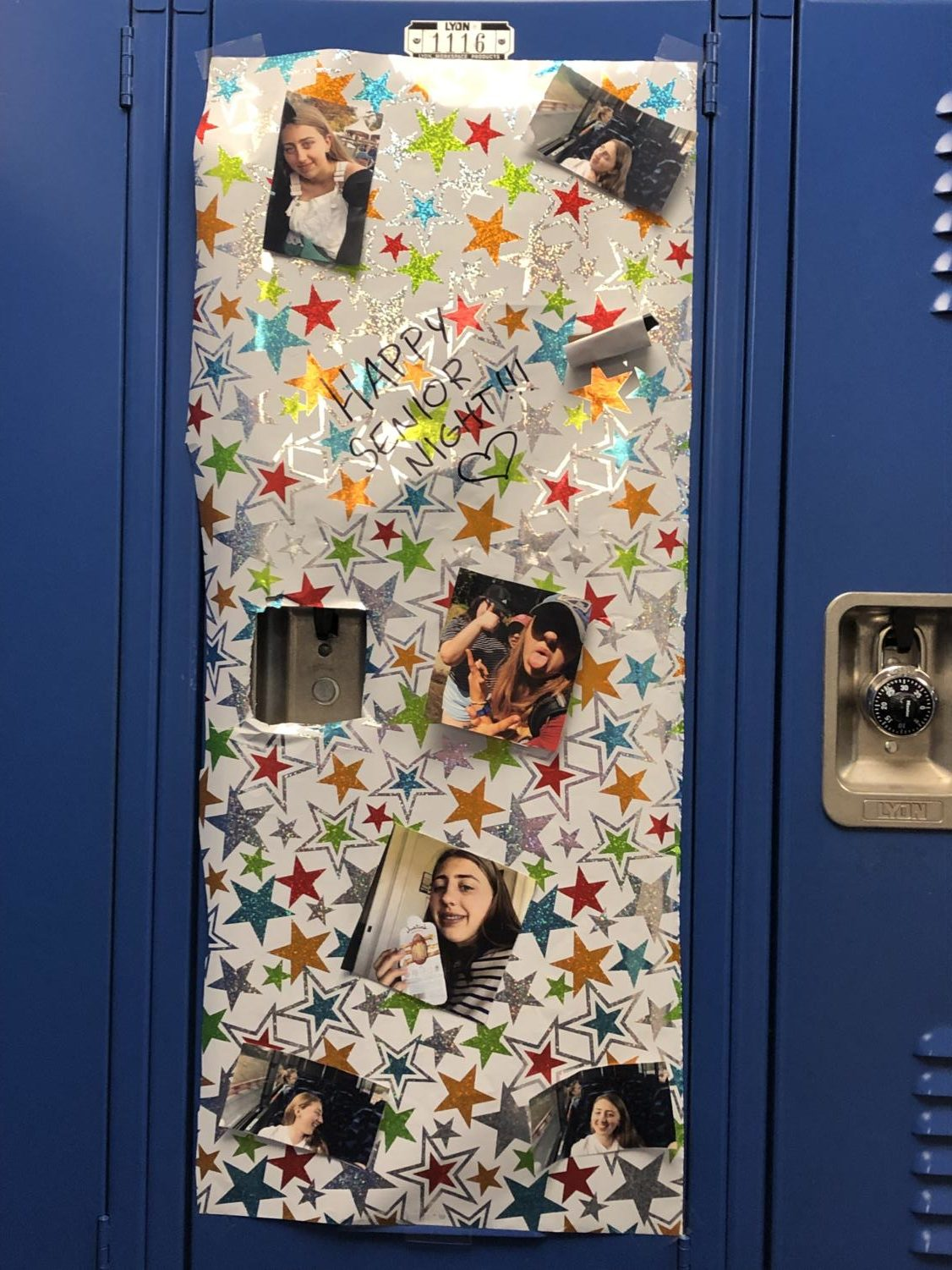 Lily Lorenzo's '19 locker in the second floor hallway, by Clementine Daniel, staff writer.
