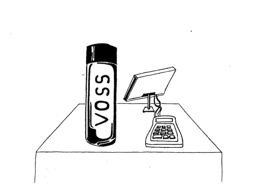 VOSS+bottled+water+is+now+sold+in+Urban+cafeterias.+Illustration+credit%3A+Loki+Olin+