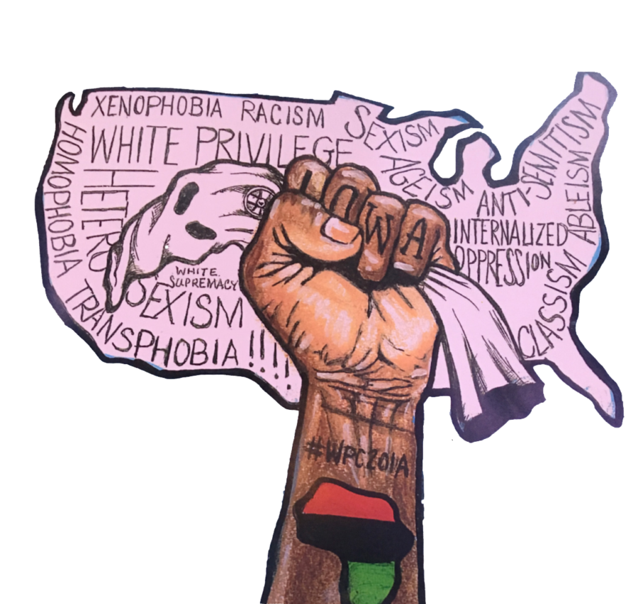 Photo of the logo of the 2019 White Privilege Conference on its pamphlet. Taken on Mar 22 by Wes Peters, staff writer.