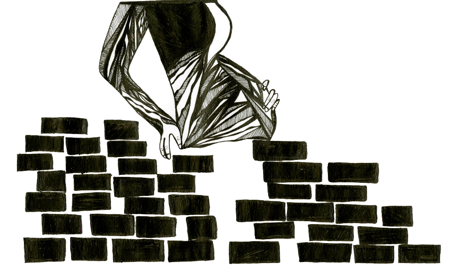 Drawing of pregnant woman behind border wall. Illustration credit: Sally Cobb