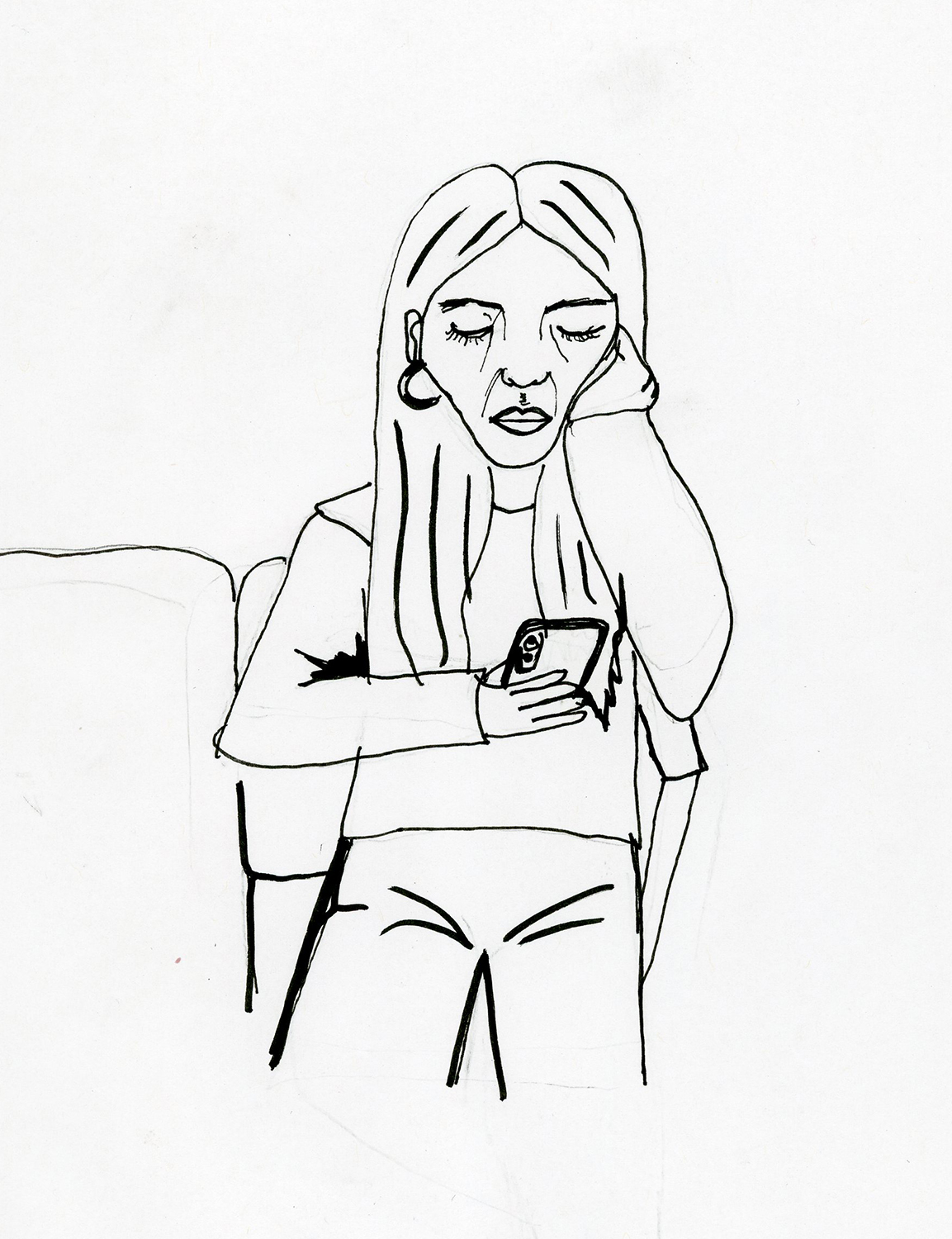 Illustration of a student looking at their phone. Illustration credit: Alex Stross.