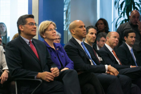 (L-R) Secretary of Labor Thomas E. Perez discusses the Conflict of Interest Rule at the Center for American Progress with Congressperson Xavier Becerra, Senator Elizabeth Warren, Senator Cory Booker, Congressperson John Sarbanes, and Congressman John Delaney on April 6, 2016. Photo Credit: Department of Labor