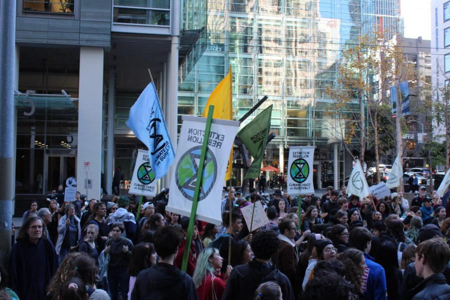 Activists protesting outside of Blackrock in San Francisco on December 12th, 2019.