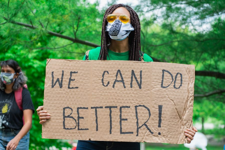 We Can Do Better Protest Sign Cardboard - Justice For Regis - Not Another Black Life rally and March - May 30, 2020 - Creative Commons Photos Here Later Today - Toronto Christie Pitts Park down Bloor Street to Queens Park / Police Headquarters on College by Jason Hargrove is licensed under CC BY 2.0